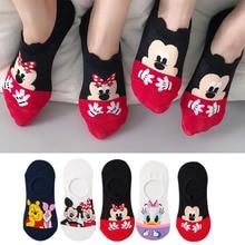 Calcetines de algodón con dibujos de animales para mujer, calcetín invisible, divertido, con dibujos de animales, ratón, pato, talla 35-41, 5 par/lote, envío directo