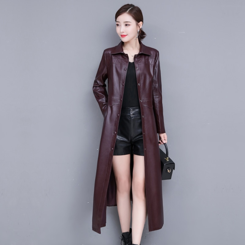 Women Pu Leather X-Long Jacket Streetwear Ladies Faux Sheepskin Single Breasted Trench Coat Plus Size Female Outwear Windbreaker enlarge