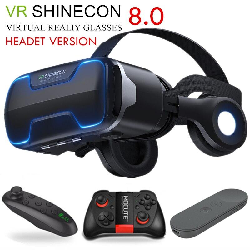 G02ED VR shinecon 8.0 ، الإصدار القياسي لسماعات الرأس ، نظارات الواقع الافتراضي ثلاثية الأبعاد VR ، سماعات رأس ، تحكم اختياري