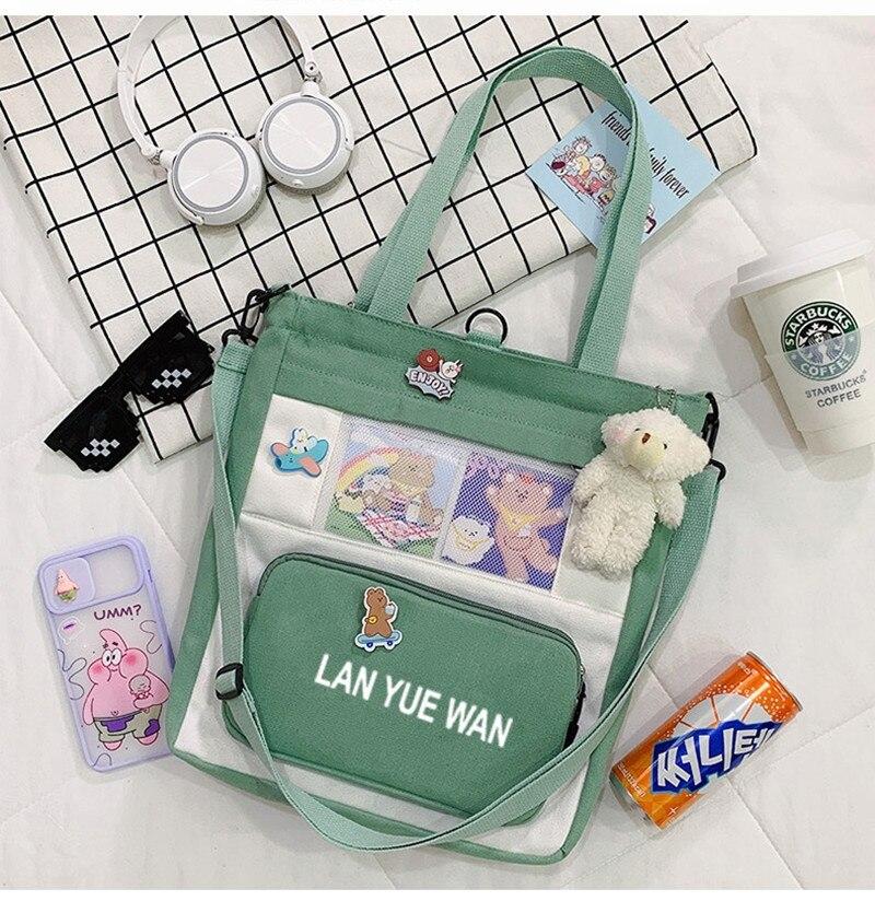 Women 2021 New Canvas Tote Bag Shopper Luxury Designer Handbag Girl Cute Cartoon Rabbit Schoolbag Cr