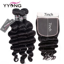 Mèches indiennes Remy Loose Deep Wave-YYONG   Cheveux naturels, 7x7, avec Lace Frontal Closure