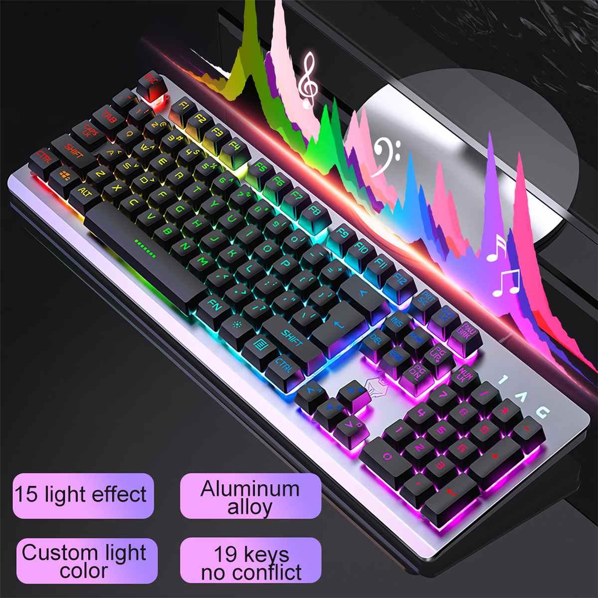 RGB الخلفية الألعاب لوحة المفاتيح USB السلكية العائمة لوحة المفاتيح هادئة مريح مقاوم للماء الشعور الميكانيكية لوحة المفاتيح