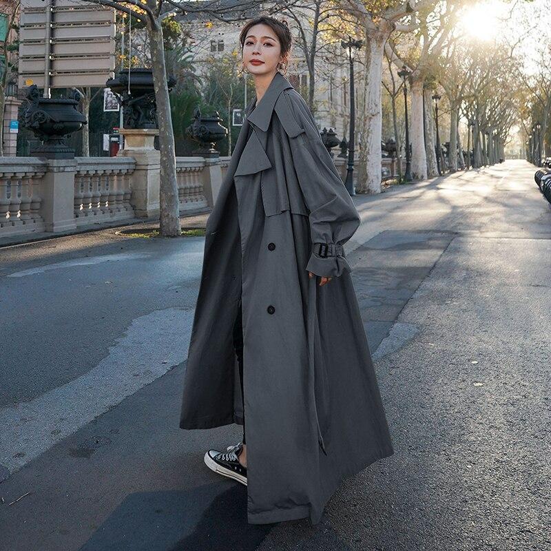 الكورية نمط فضفاض المتضخم X-طويلة المرأة خندق معطف مزدوجة الصدر مربوط سيدة عباءة سترة واقية ربيع الخريف ملابس خارجية رمادي