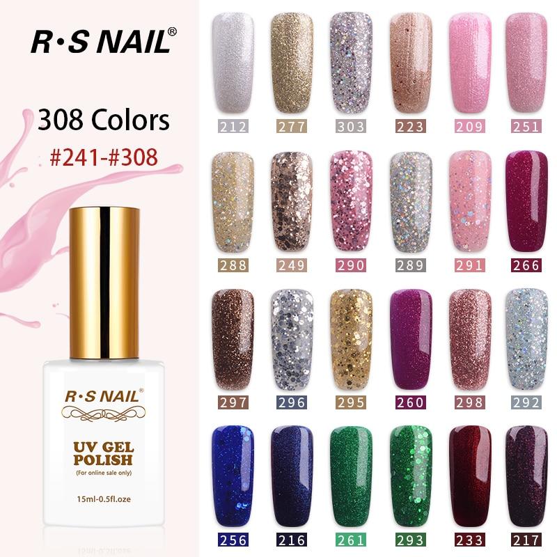 RS NAIL Glitter Gel Nail Polish 308 colors vernis semi permanent 15ml esmalte permanente a set of gel varnish French manicure(5)