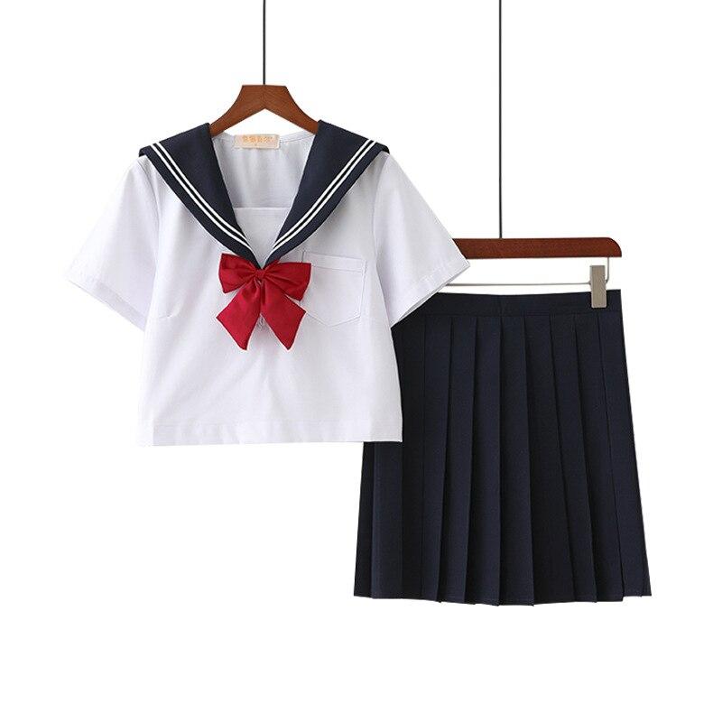 Hot Koop Anime School Uniform Cosplay Kostuum Japanse School Meisje Cosplay Sailor Suits Jk Uniformen Klassieke Kleur 2 Stks/set