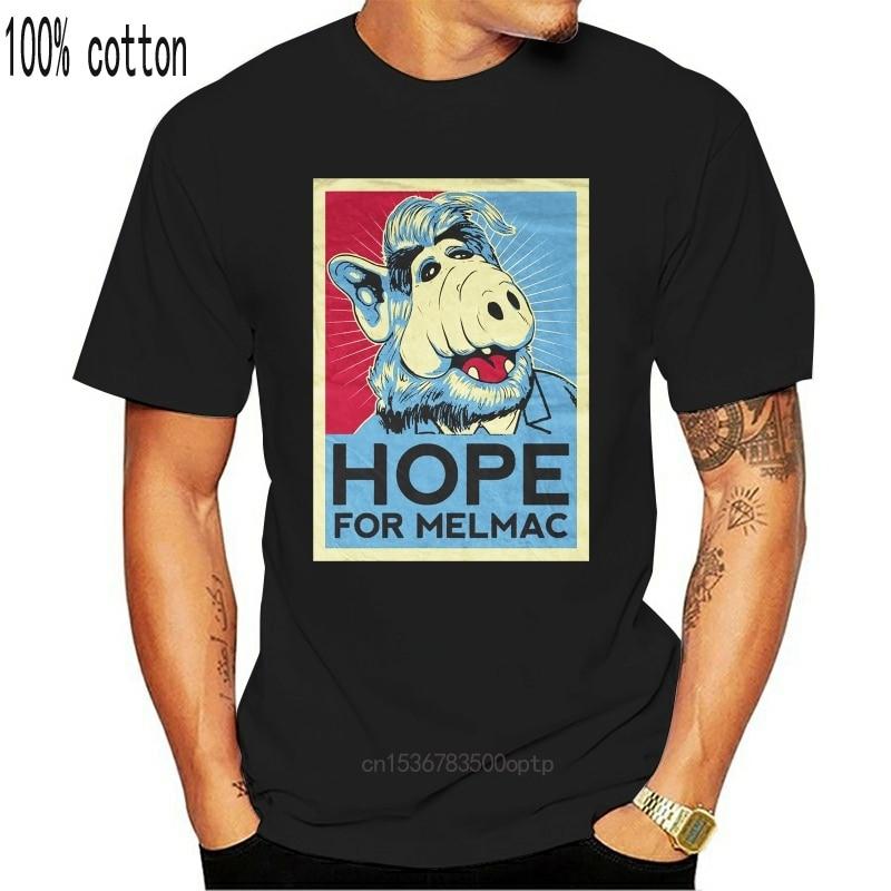 Esperança para Melmac Alf T-Shirt Schwarz ,Lecker Katze, Kult Serie,Alf,Gordon Shumway Homens T Homme Preto Solto Tees