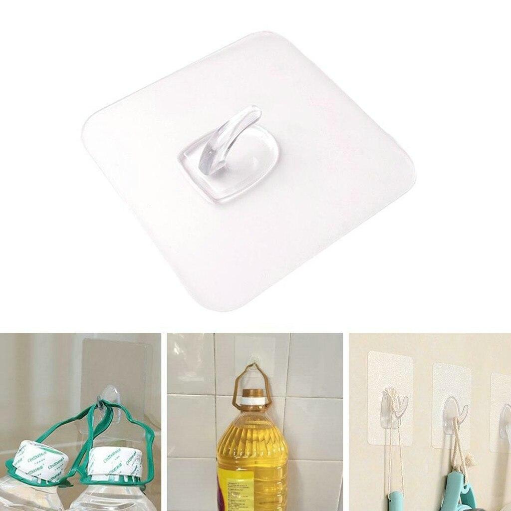Gancho De pared para colgar en la pared, Ganchos antideslizantes reutilizables transparentes,...