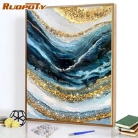 ruopoty diy paint by numbers blue gold texture zero based for adult 40x50cm paint by numbers kits living room home decor