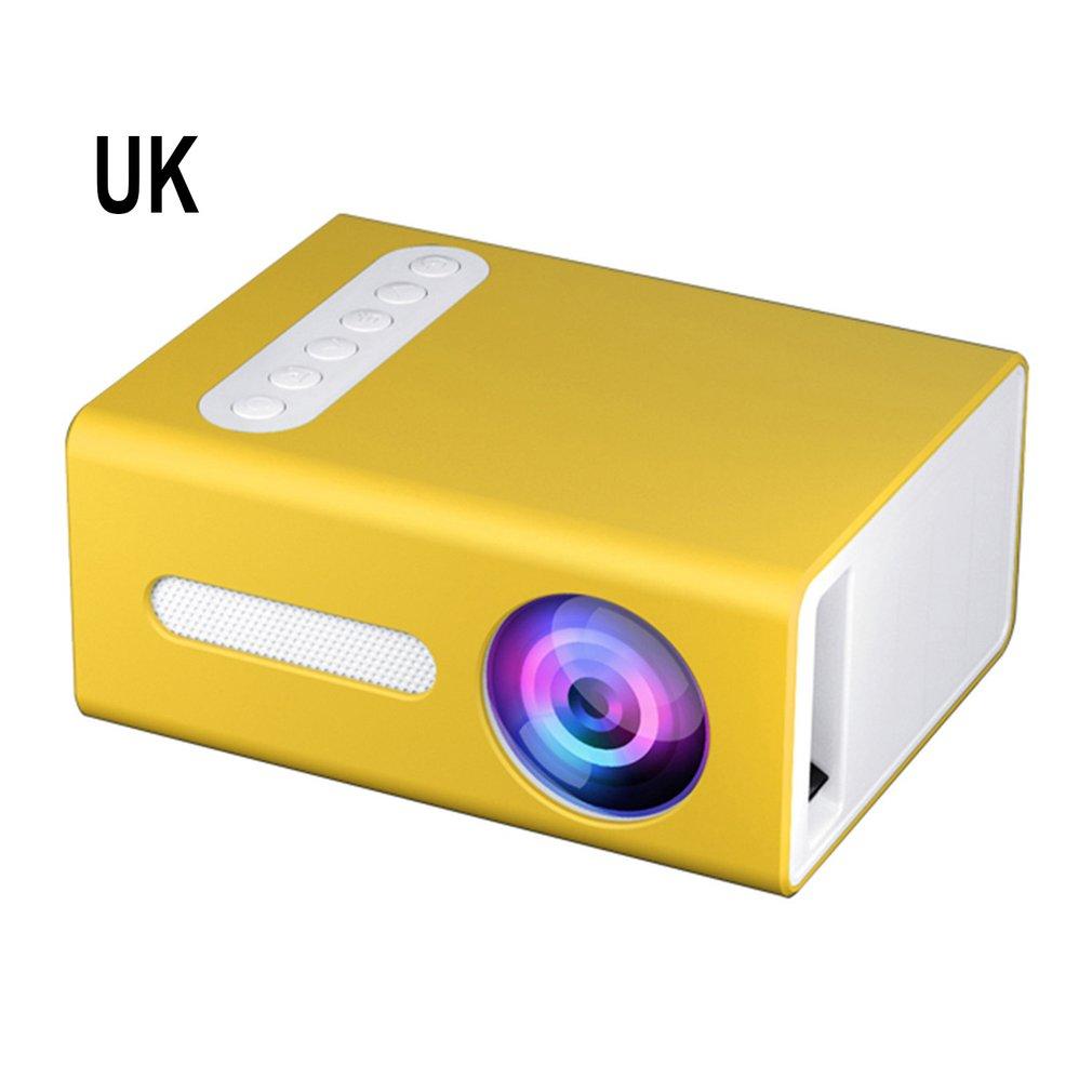 الأصفر T300 المحمولة العارض عالية الوضوح كفاءة جهاز عرض (بروجكتور) ليد متعددة واجهة المسرح المنزلي عارض فيديو