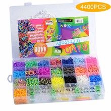 Loom opaski gumowe bransoletka dla dzieci włosy kolor tęczy gumowe bransoletki z gumek Make tkana bransoletka DIY zestaw zabawek 4400 sztuk prezent dla dzieci