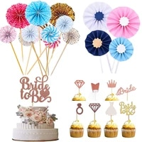 112pcs bride to be flag diamond ring paper fan cake topper wedding dessert decoration bridal shower bachelorette party supplies