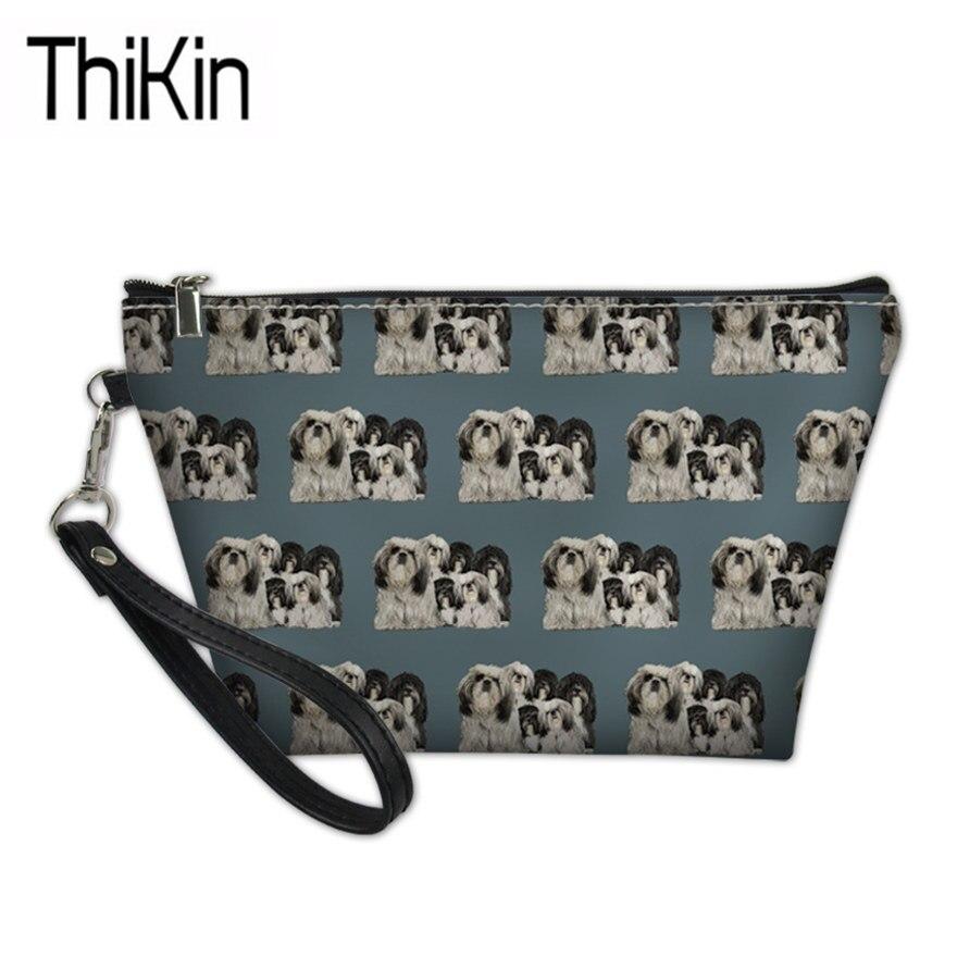 Косметички для женщин, милые косметички с принтом Shiih Tzu, Дамская функциональная сумочка для макияжа, женский набор для стирки, сумки для хра...