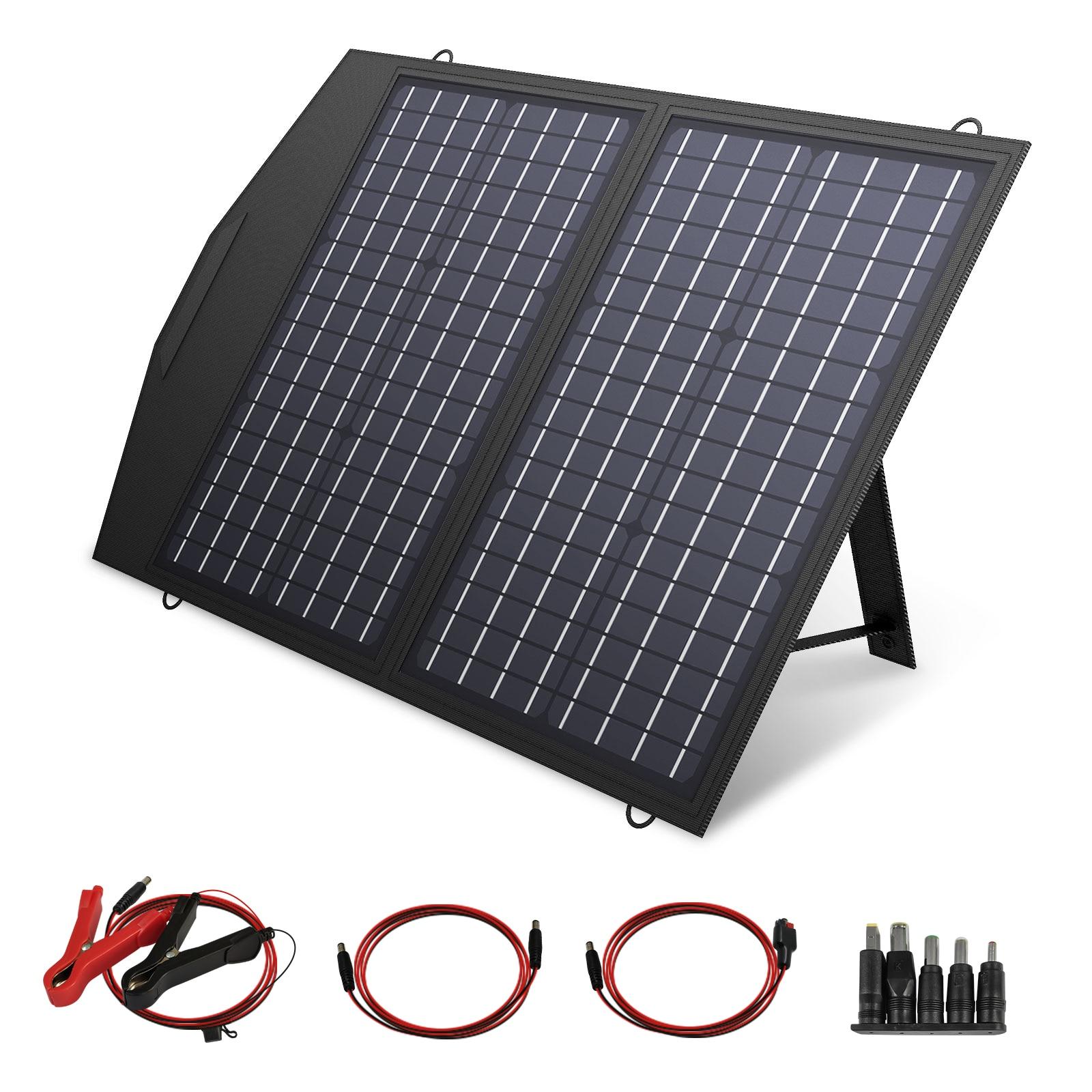 Allforce 60/100/120 واط لوحة شمسية قابلة للطي ، شاحن بالطاقة الشمسية المحمولة لمعظم مولد الطاقة الشمسية ، محطة الطاقة المحمولة ، وأجهزة الكمبيوتر الم...