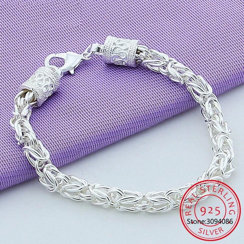 925 srebro karabińczyk bransoletka Pulseiras es Plata dla kobiety mężczyzna moda ślubna biżuteria zaręczynowa