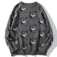 Devil jacquard Sweater Men Harajuku Hip Hop Streetwear Spandex Pullovers Sweaters Oversize Fashion Casual Couple Male Sweaters