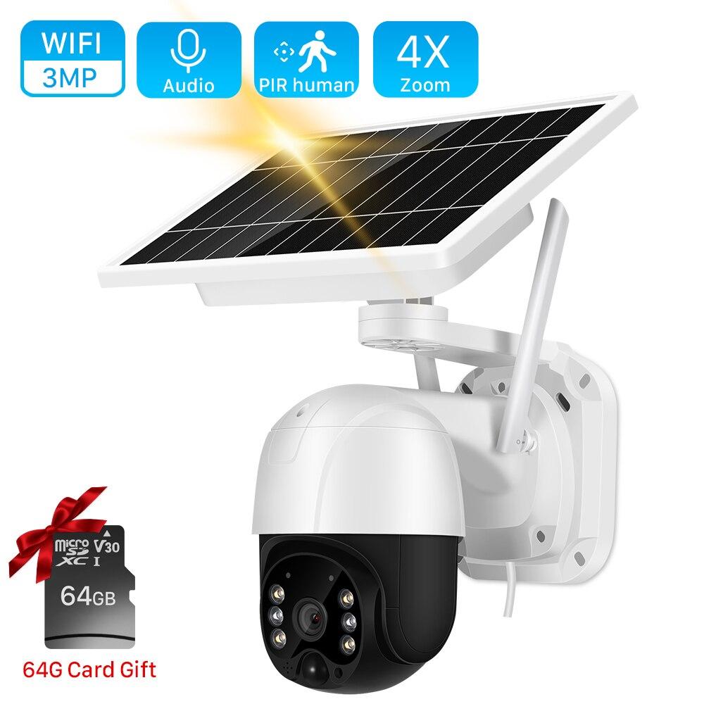واي فاي كاميرا الطاقة الشمسية في الهواء الطلق 3MP PIR كشف الإنسان اتجاهين الصوت كاميرا متحركة لاسلكية 30M لون للرؤية الليلية CCTV كاميرا الأمن