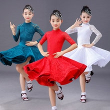 Kızlar uzun kollu Latin dans eteği balo salonu Salsa Tango etekler çocuk çocuk dantel Latin dans bölünmüş elbise Leotard ve etek