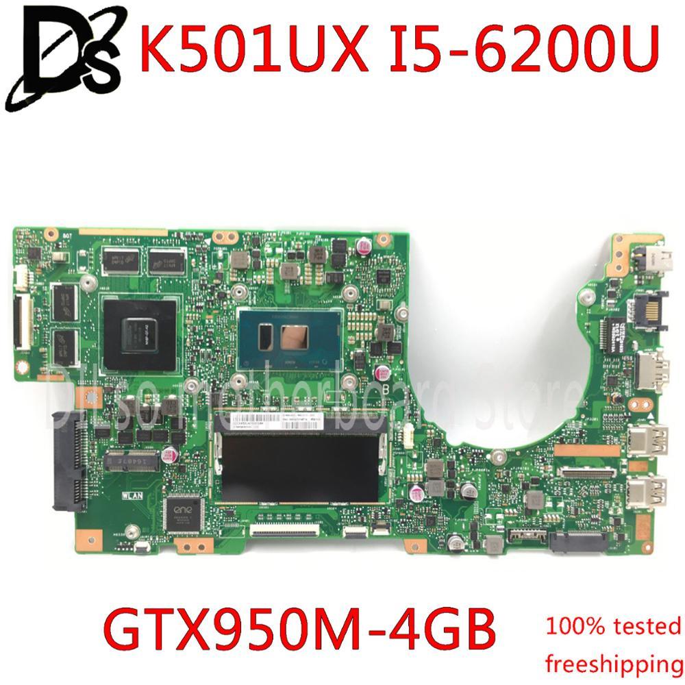 KEFU K501UX для ASUS K501UX K501UB K501U материнская плата для ноутбука K501UX материнская плата rev2.0 i7-6500U процессор GTX 950M-4G 4 ГБ ОЗУ протестирована 100%