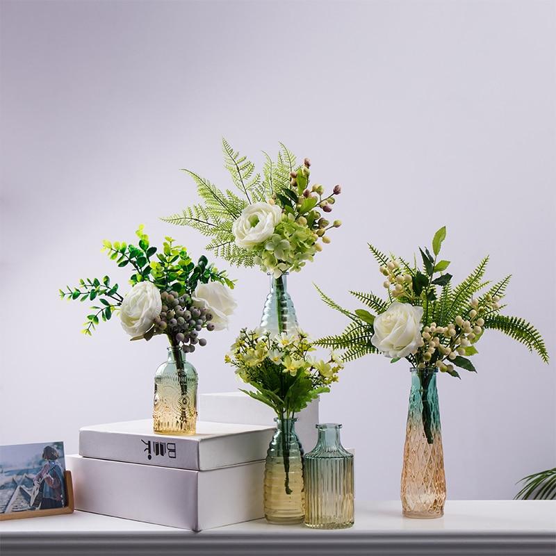 Nordic Simple Creative Home Retro Glass Vase Table Decoration Living Room Dried Flower Arrangement Light Luxury Glass Vase