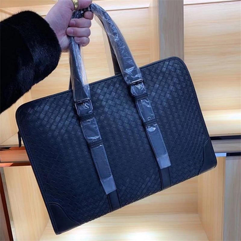 New 14-15inch Men Genuine Leather Handbag Designer Business Briefcase High Quality Computer Messenger Woven Bags Male Travel Bag