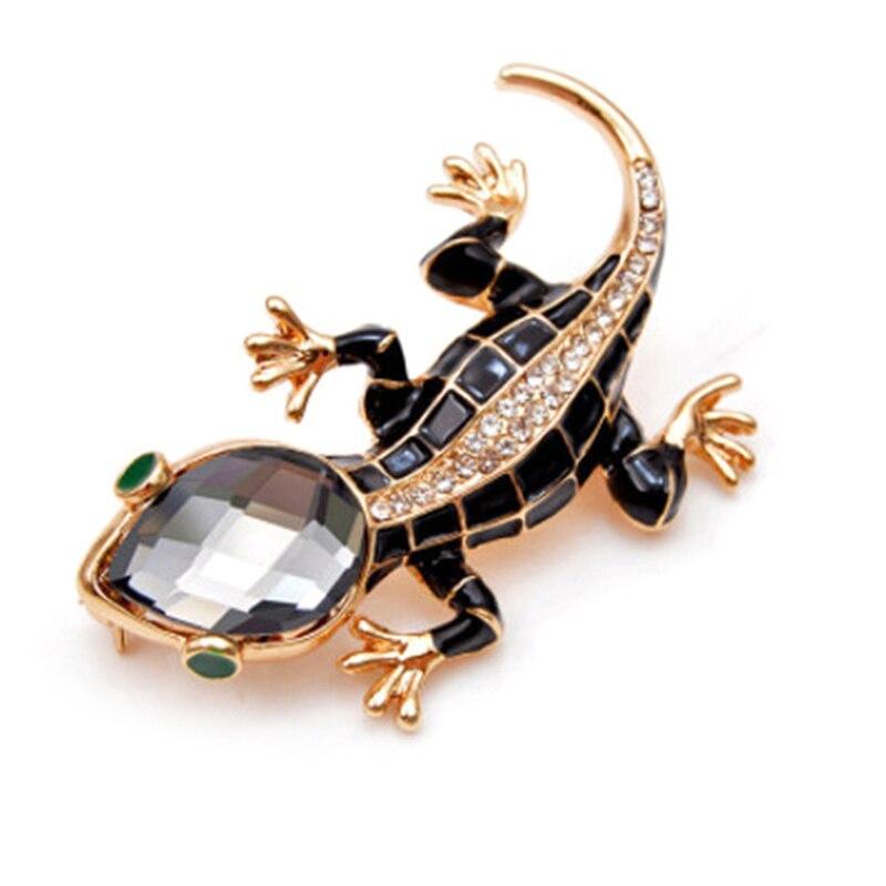 Broches de lagarto de cristal a la moda para mujer, ropa con broche de Animal bonito Brosch