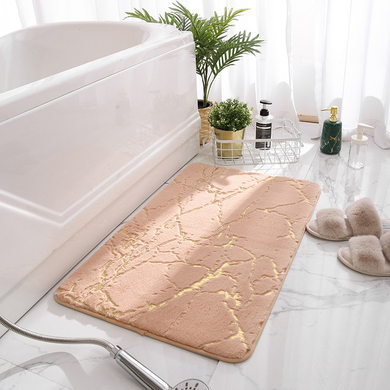 Non-Slip Bath Mats Super Absorbent Shower Bathroom Carpets Soft Toilet Floor Faux Rabbit Hair Rugs F