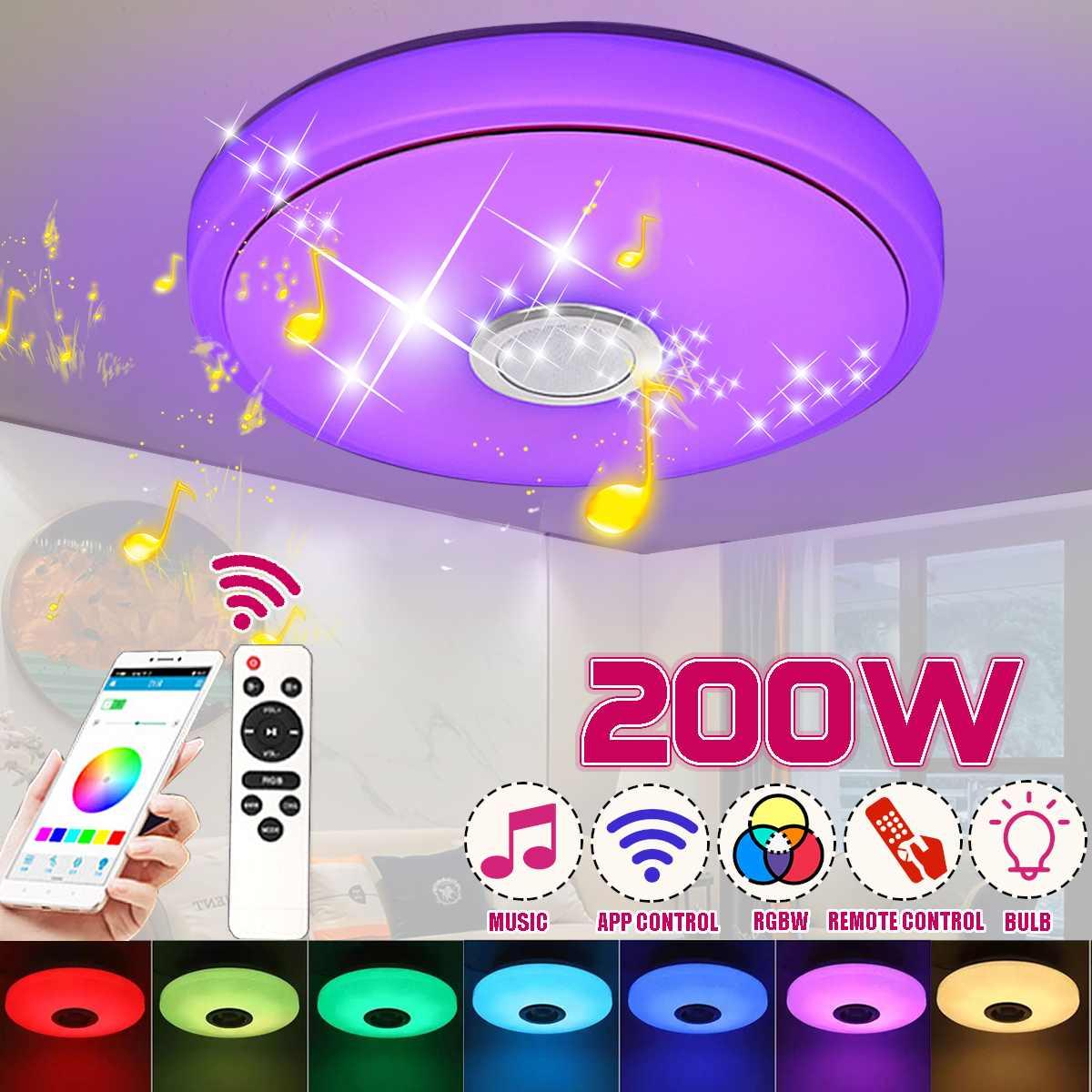 مصباح سقف LED ، موسيقى ذكية ، RGB ، 200 واط ، جهاز تحكم عن بعد ، 220 فولت ، حديث ، بلوتوث ، عاكس الضوء ، ملون ، جديد