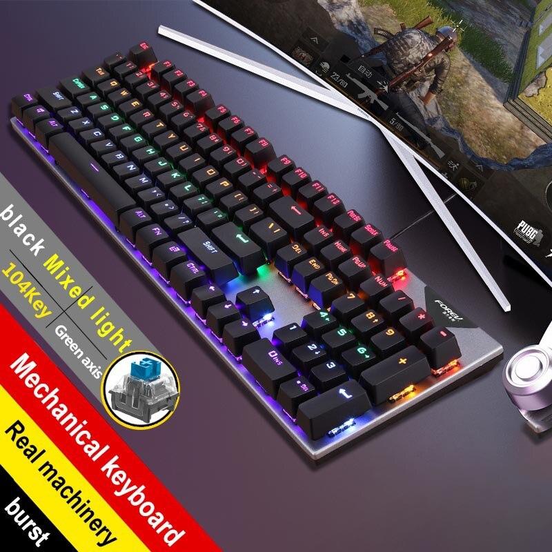 FV-Q302 جديد الأخضر محور لعبة مضيئة USB الإنترنت مقهى ينطبق عبر الحدود الساخن شراء لوحة المفاتيح الميكانيكية الحقيقية