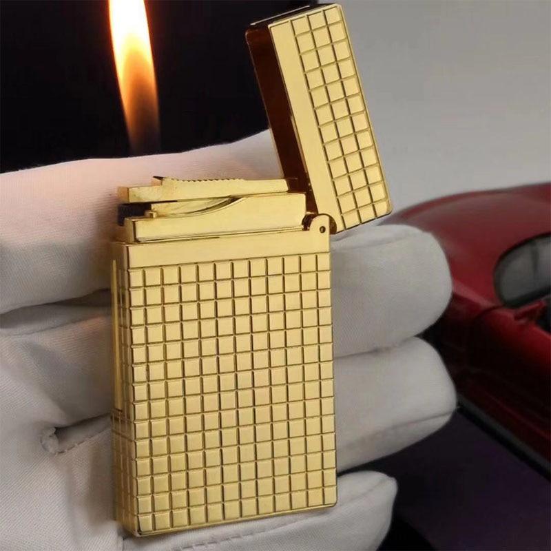 Vintage lattice Lighter Classic Refillable Cigarette Lighter Plaid Engrave Luxury Smoke #070 Gold Silver Men's Gift Hot Sale New