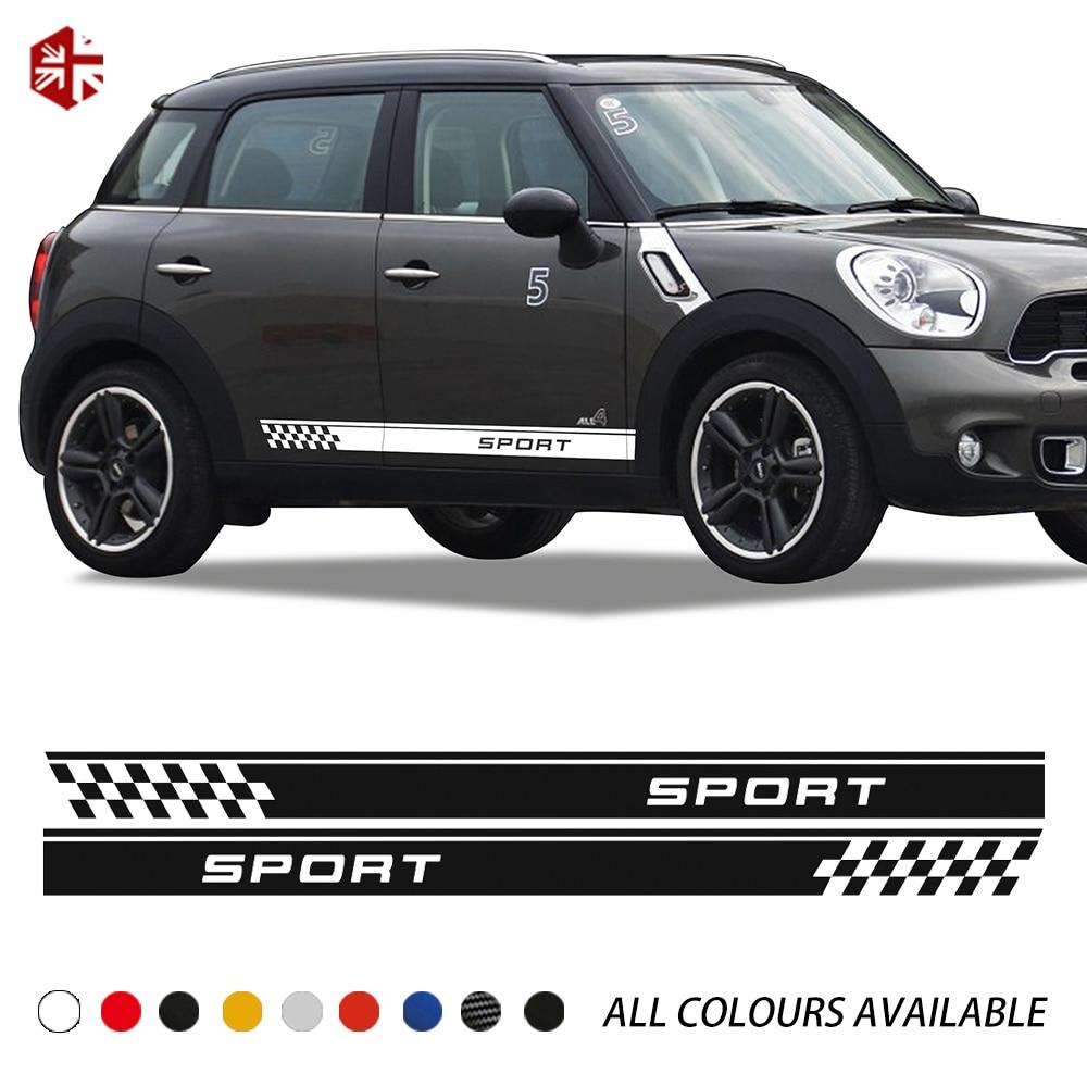 2 uds Racing Sport a cuadros estilo Puerta de coche rayas laterales pegatina para el cuerpo para MINI Cooper S countyman R60 JCW Accesorios
