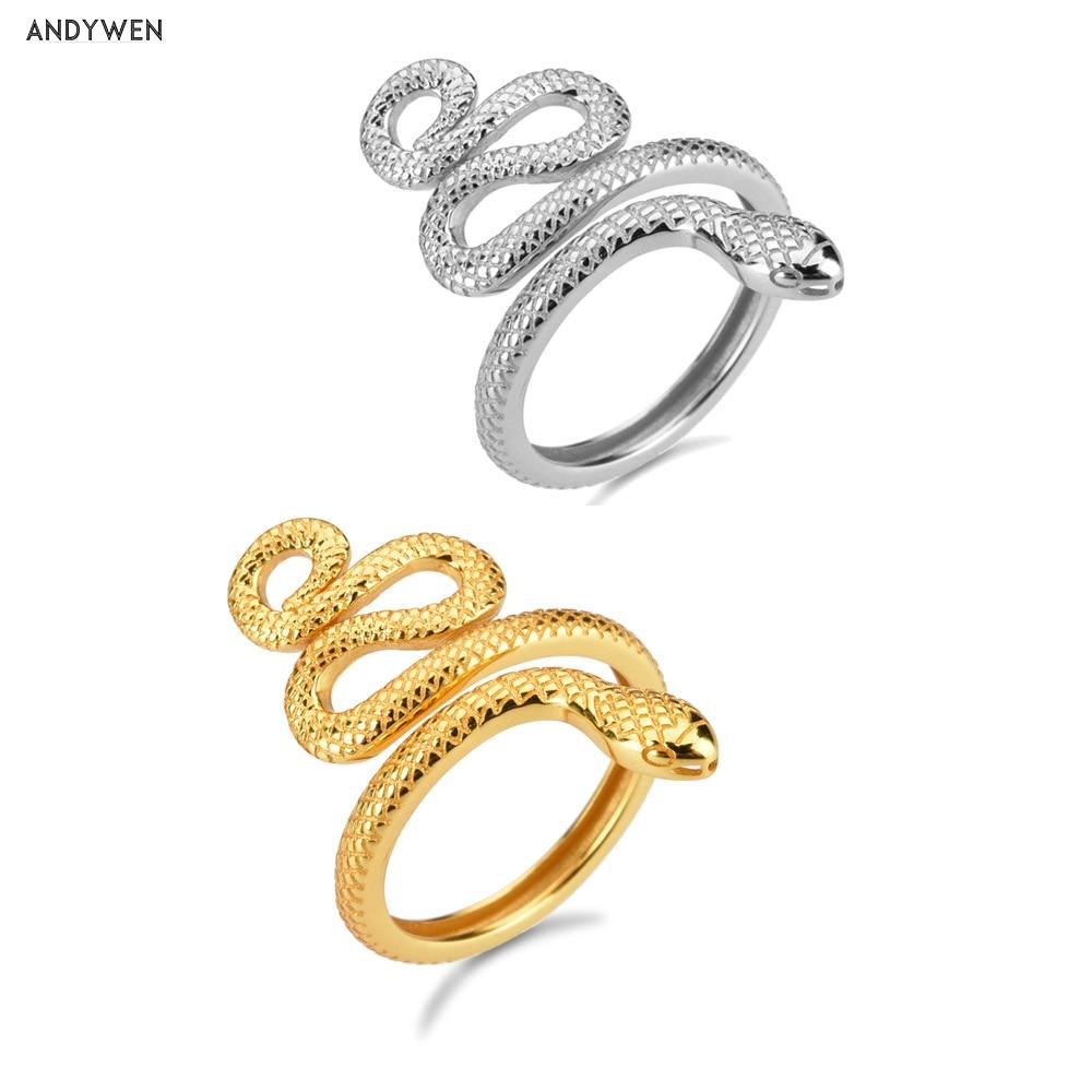 Andywen 925 prata esterlina ouro ajustável cobra anéis grande animal de luxo redimensionável novo círculo feminino anel fino jóias