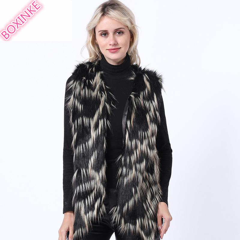 Fur   Faux Fur fur vest women Fox Fur JACKET WITH FUR SLEEV vest fur BOXINKELEOPARD FAUX COAT Faux Leather jacket women red fur  фото