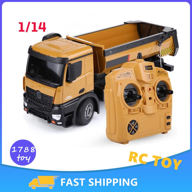 HUINA 1:14 Rc Car Dumper Truck Machine On Control 10 Ch Caterpillar Alloy Engineering Vehicle Remote Control Car Toys for Boy