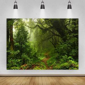 Green Foggy Dense Forest Path Portrait Photo Background Photographic Vinyl Backdrop Photocall Photo Studio Booth Props