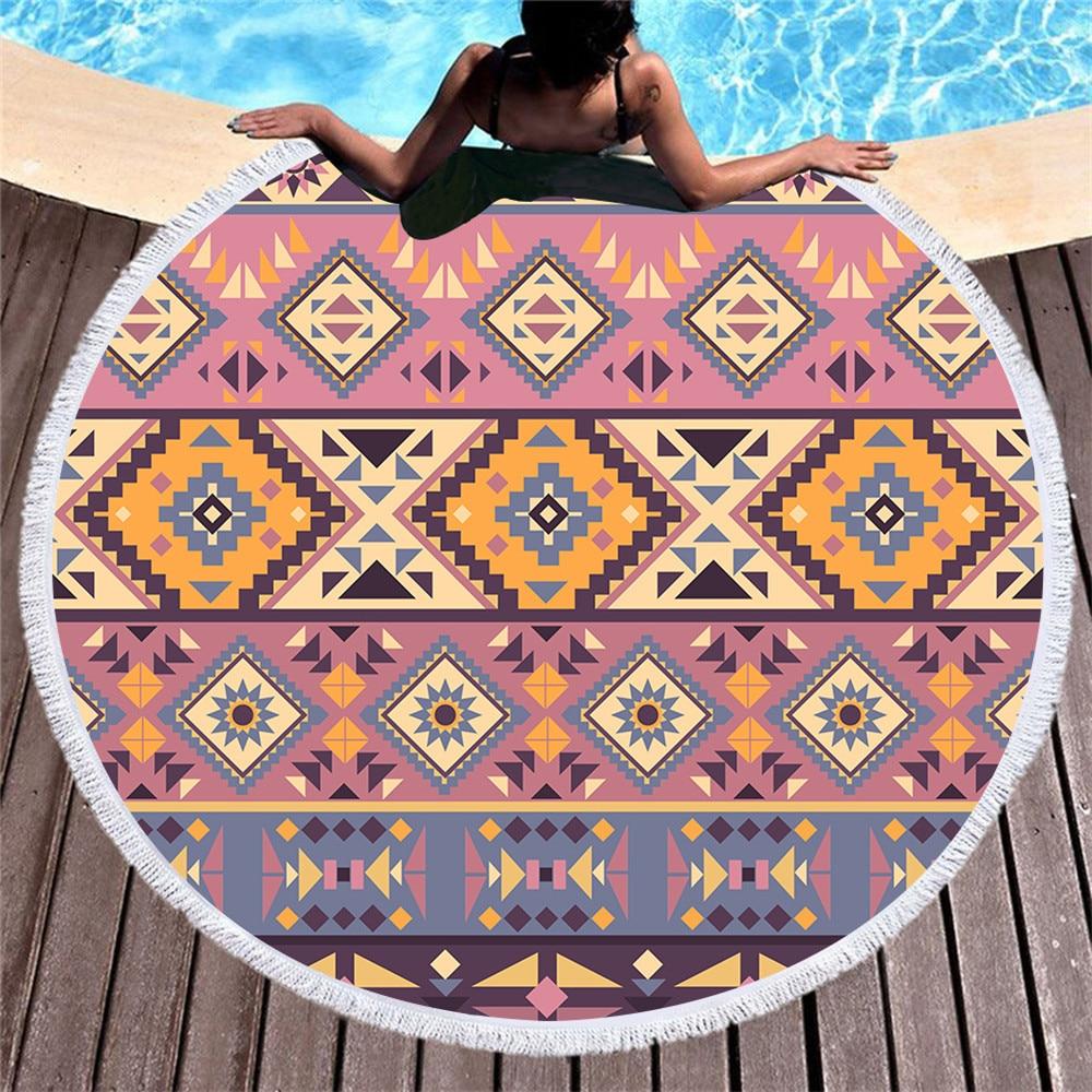 Toallas de Playa redondas de verano Mandala geométrica círculo Toalla de ducha de baño con cordón bolsa de almacenamiento Yoga Mat manta Toalla Playa