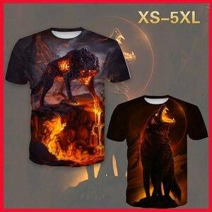 Men's 3d  Print Fire wolf t shirt
