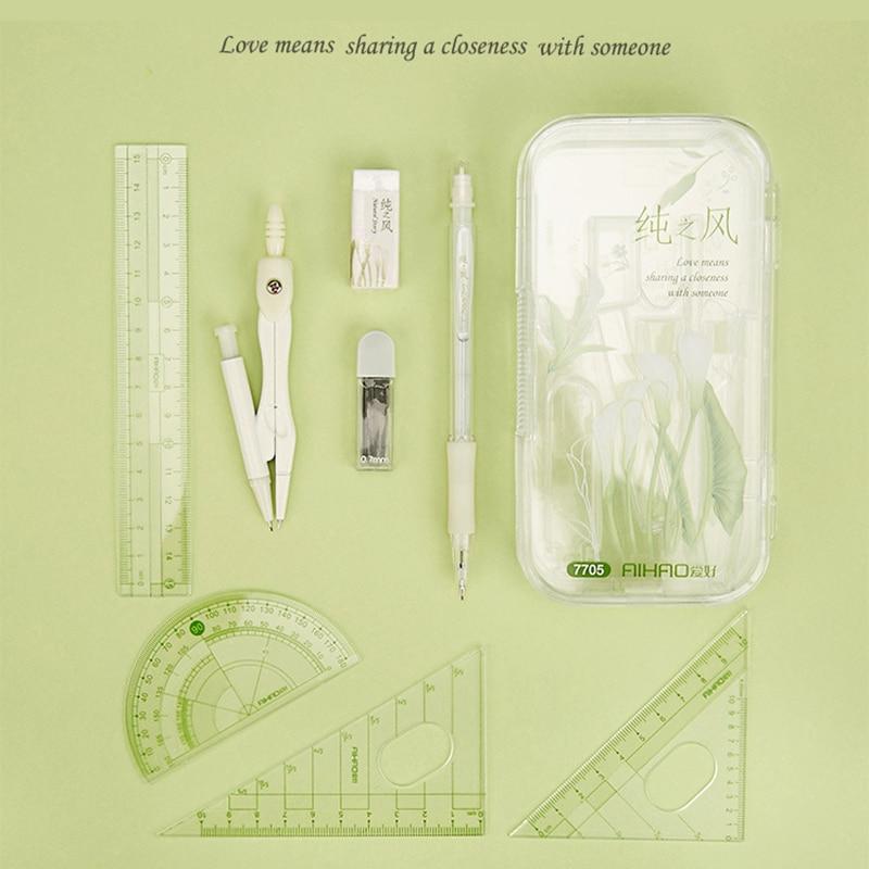 Matemáticas de la escuela set de geometría transportador, dibujo a lápiz Essentials brújula matemática gobernante lápiz Essentials matemáticas portátil de matemáticas de la escuela