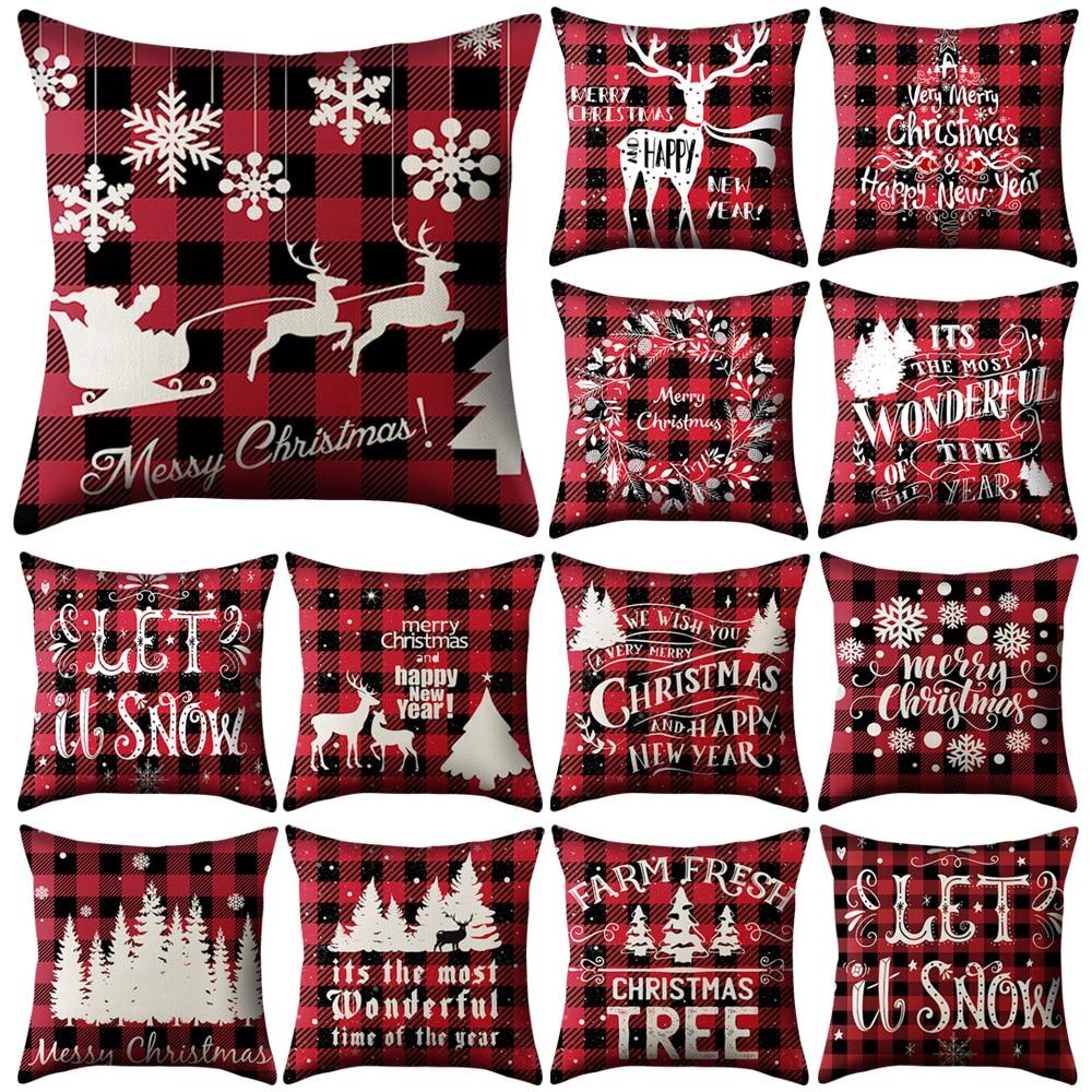 Funda de almohada roja de Navidad de 45x45cm, funda de cojín festiva, cojín de terciopelo, cojín decorativo para coche, funda de almohada decorativa
