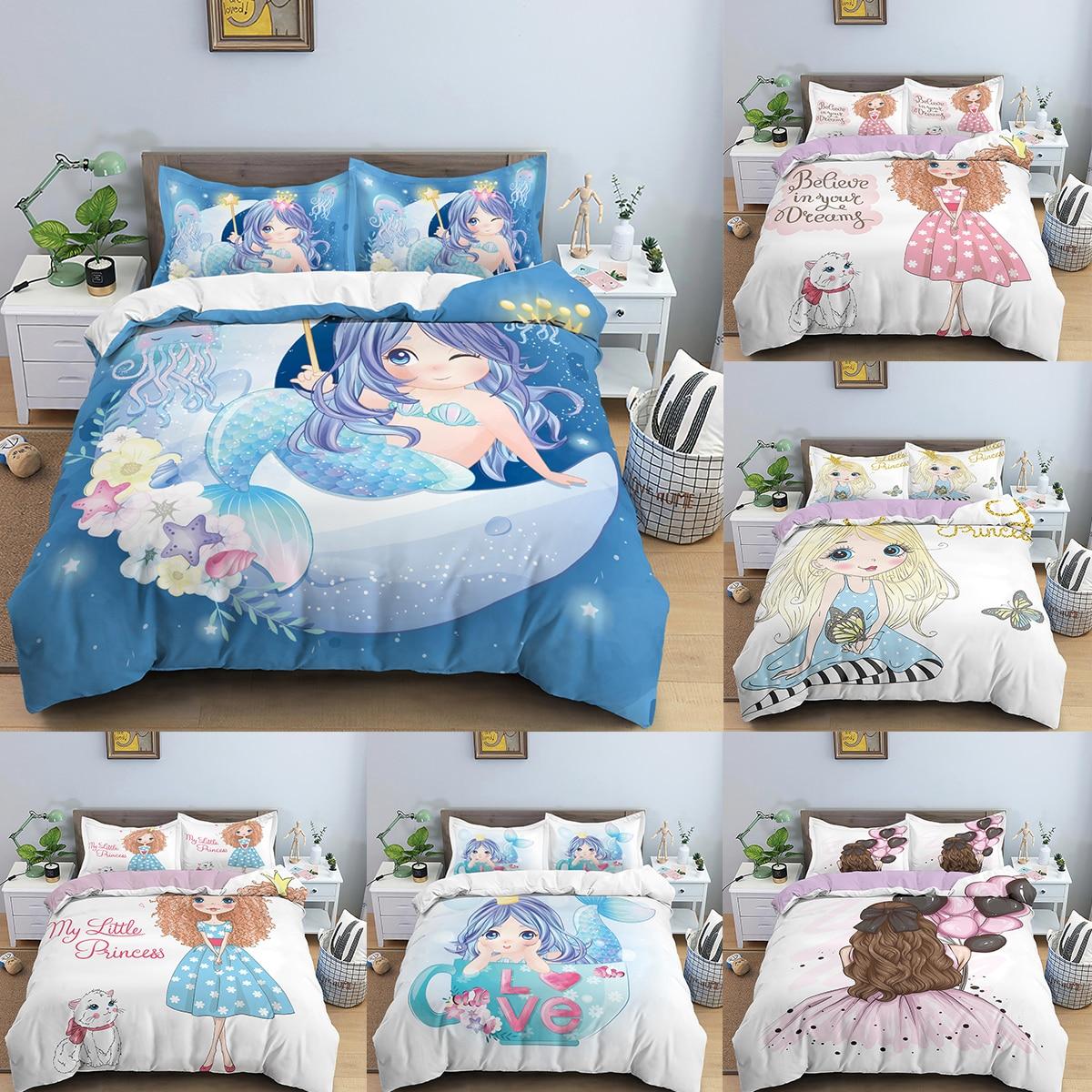 الأطفال حاف الغطاء حورية البحر الأميرة الفتيات الكرتون المطبوعة طقم سرير الملكة حجم حاف الغطاء لفتاة لطيف Comfor طقم سرير