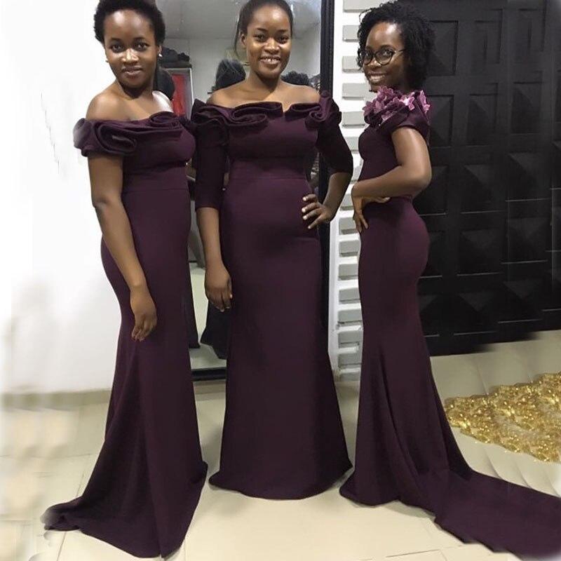 Raisin épaules nues sirène robes de demoiselles dhonneur balayage Train drapé jardin grande taille mariage invité robes de soirée