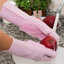 1 pieza o 1 par de guantes mágicos de silicona para lavar platos Limpieza de cocina multiusos para el hogar Gel de sílice guantes de lavado
