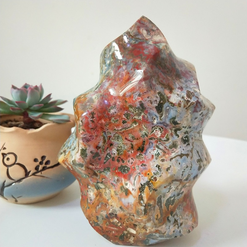 Pedra natural marinho jasper cristais chama decorado pedras sorvete feng shui cristal cura cristais