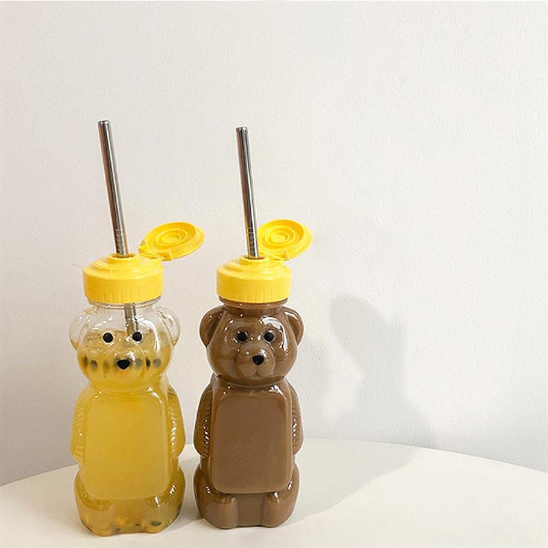 12 قطعة 240 مللي البلاستيك ضغط زجاجات بهار الدب شكل العسل صلصة الخردل المربى موزع البلاستيك الدب العسل زجاجة