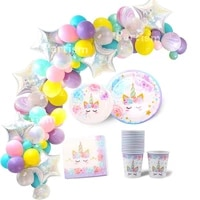 unicorn balloons disposable tableware birthday party decoration unicorn balloons plates napkin kids birthday party supplies