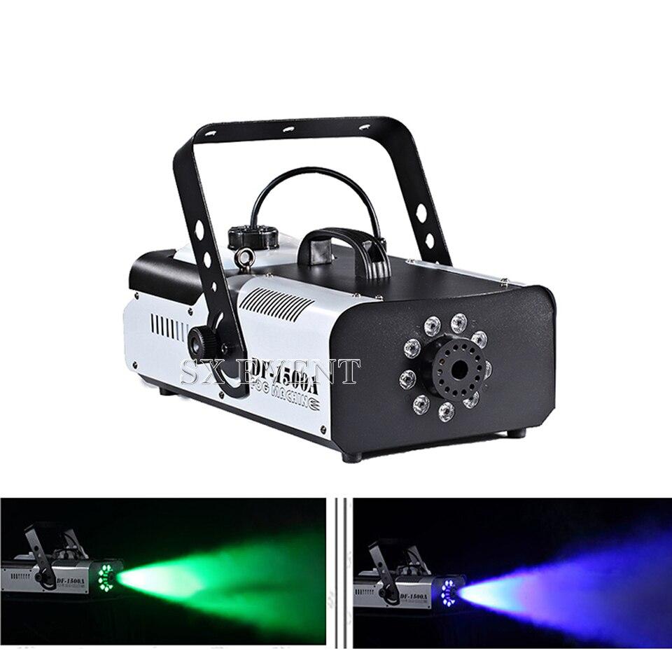 نسخة عالية 1500 واط 9*3 واط LED آلة الضباب شاشة ديجيتال + DMX512 تحكم 1500 واط الضباب آلة الطرف