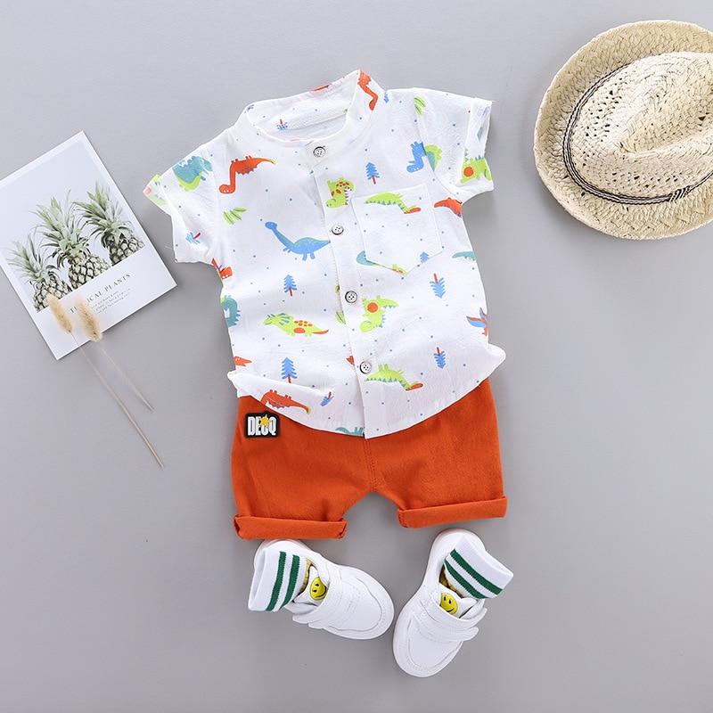 Cute Toddler Boy Summer Set 2021 New Cartoon Dinosaur Print Short Sleeve Shirt + Pants for Kid Baby Boys Clothes