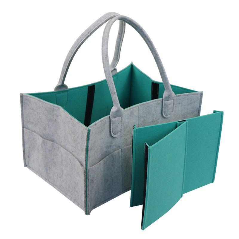 Bolsa de almacenamiento de tela de fieltro CYSINCOS plegable pañal de tamaño grande Caddy cambiador de mesa organizador de juguete cesta de almacenamiento organizador de coche