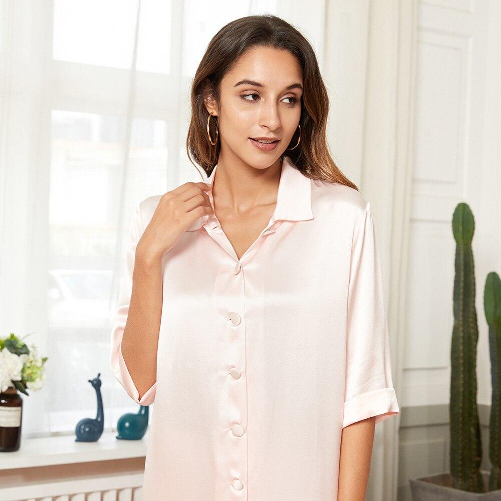 Luxury Long Pants Silk Pajamas V Neck 19 Momme Silk Pajamas Pure 100% Mulberry Silk Botton Pajama Set