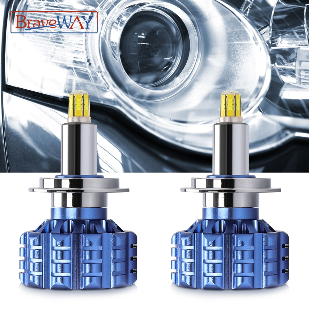BraveWAY 360 الإضاءة منخفضة شعاع H1 LED H7 H11 HB3/9005 HB4/9006 LED المصباح مع عدسة LED Canbus سيارة مصابيح كهربائية لجهاز العرض