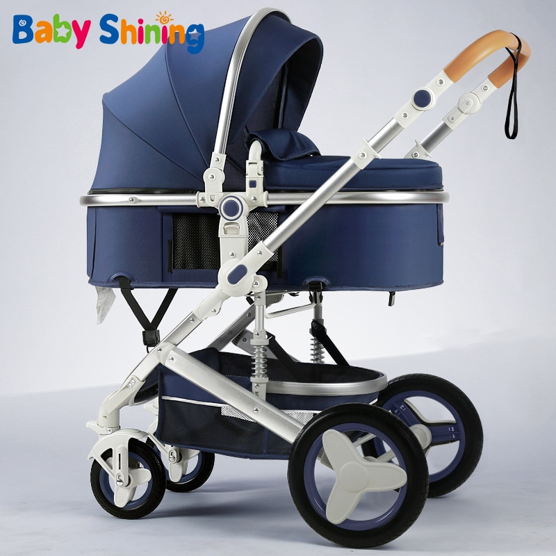 Baby Shining Luxurious Baby Stroller 4 Wheels Portable Travel Baby Carriage Folding Prams Aluminum Frame High Landscape Car